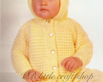 Baby's hooded jacket knitting pattern. Instant PDF download!