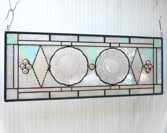 Pink Depression Glass, Stained Glass Panel, 1930s Jeannette Cherry Blossom Plate Panel, Stained Glass Window Transom, Antique Plate Window