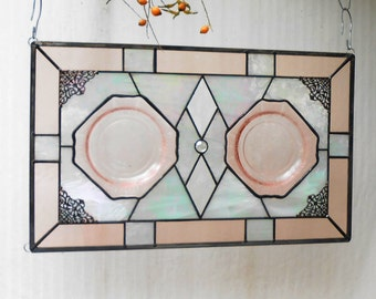 1930s Pink Depression Glass Plate Panel, Stained Glass Transom Window, Antique Stained Glass Window Panel, OOAK Vintage Glass Window Valance