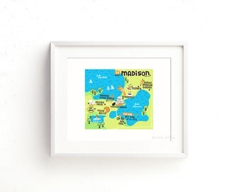 Madison Map (as seen on Design*Sponge) - Giclee of an original illustration (8 x 10in)