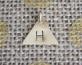 Hand-stamped Brass Triangle Charm | Gold Initial Pendant Necklace | Custom Letter Jewelry | Personalized Brass Charm Triangle
