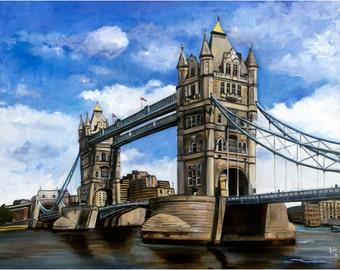 London Tower Bridge Oil Painting - 15x12in Giclee Art Print