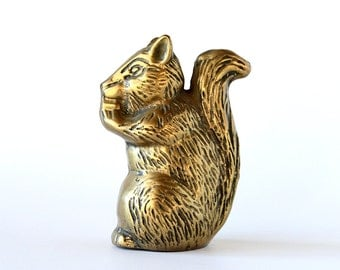 Vintage Brass Squirrel Figurine Mid Century Decor