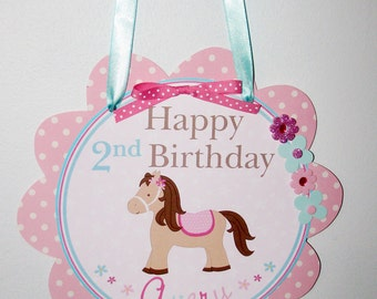 Shabby Chic Horse Door Sign, Pony, Party supplies