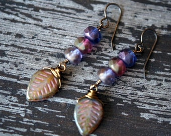 Purple Earrings - Leaf Earrings - Faceted Purple Earrings - Woodland jewelry - Matte Finish - Leaves - Boho - Bead Soup Jewelry