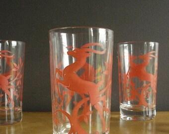 30% off SALE For Your Lemonade - Vintage Set of 4 Coral or Salmon Jumping Deer or Antelope or Gazelle Federal Glass Barware Glasses
