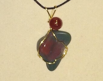 Wire Wrapped Tumbled Bloodstone (Heliotrope) Pendant