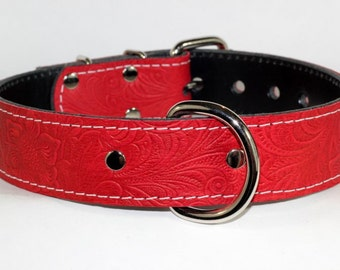 """Floral Leather Red Dog Collar- 1.5"""" Red Floral Leather Spiked Dog Collar, Red Leather Dog Collar, Floral Embossed Red Leather Dog Collar"""