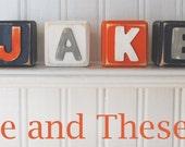 Mini letter name blocks-Baby wood name blocks-Square baby name blocks-Navy, orange, grey and white