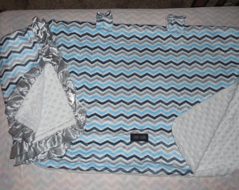 chevron minky Baby Car Seat Canopy cover & baby satin ruffle blanket set girl boy shower gift blue 2 pieces