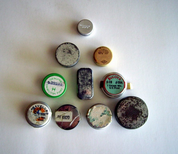 Vintage watch part tins lot – 10 tiny containers for your crafty creations or storage for small treasures