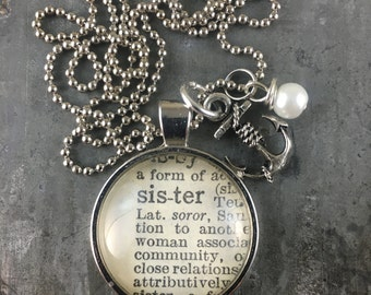 One Word Dictionary Necklace- Sister with Anchor Charm