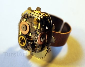 Steampunk Ring Adjustable Clockwork Ring with Gears Watch Movements Adjustable Band Copper Band Mixed Metal Tones OOAK Jewelry TursiArt