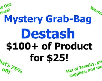 Mystery Grab Bag Destash - 75% off TursiArt Products Close out Discount Bargain Price Jewelry Art Prints Supplies Discontinued Clearance