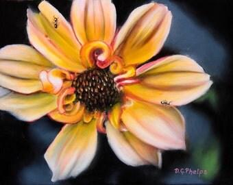 orange flower, dahlia flower art, dahlia art, flower art, flower art, flower artwork, realism art, realistic flower art, small flower art