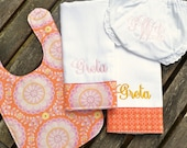 The 4-piece Dollar Monogrammed Baby Gift Set - Boy or Girl Fabrics Available