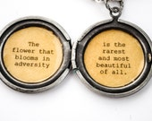 Mulan Women's Locket Necklace - The flower that blooms in adversity is the rarest and most beautiful of all - Quote Locket