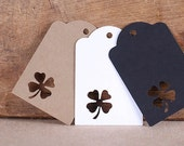 Small Shamrock Gift Tags, St. Patrick's Day Gift Tags, Clover Gift Tags, St. Paddy's Favor Tags, Sweet Bag Tags, Wedding Favor Tags (24)