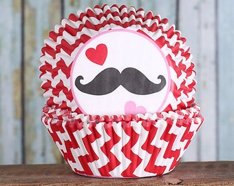 Valentine's Day Cupcake Liners, Chevron Cupcake Liners, Mustache Cupcake Liners, Red Baking Cups, Cupcake Cases (75)