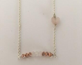 Sterling Silver Chain, Rose Quartz and Swarovski Necklace