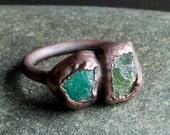 Tourmaline Ring Garnet Ring Rough Stone Jewelry Copper Size 7 Ring Dual Stone Gemstone Birthstone Ring Organic Ring