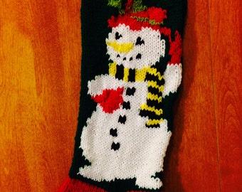 Christmas Stocking Mr. Snowman, Knit Christmas Stocking, Personalized Christmas Stocking