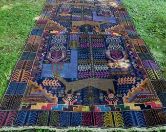 "Gorgeous Pictorial Hunting Carpet Rug  Woven Kilim/Tapis. 6 ft 8"" x 3 ft 8"" . 203 x 112 cm. Traditional."