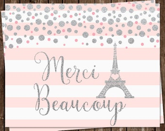 Merci Beaucoup, Thank You Cards, French, Pink, Girl, Parisian, Eiffel Tower, Glitter,  24 Cards with Envelopes, FREE Shipping, France, Paris