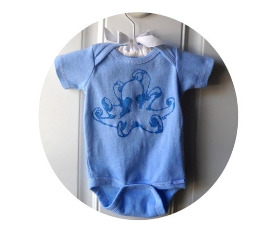 Octopus Cotton baby bodysuit, infant creeper, one piece snapsuit, blue or custom colors, ocean, nature, summer, vacation, nautical summer