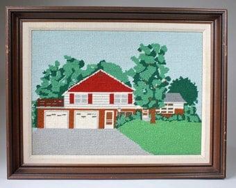 Vintage Needlepoint Mid Century Ranch House, Pop Art Needlepoint, Urban Landscape, Modern Tapestry, Framed Needlepoint Wall Decor, 1970s