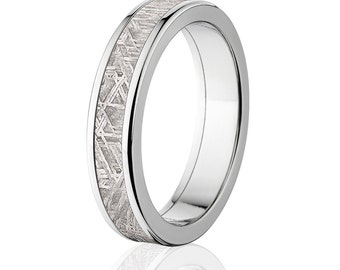 5mm Comfort Fit Meteorite Rings Set In Aerospace Grade Titanium Meteorite Wedding Band : Meteorite-Ring-5F