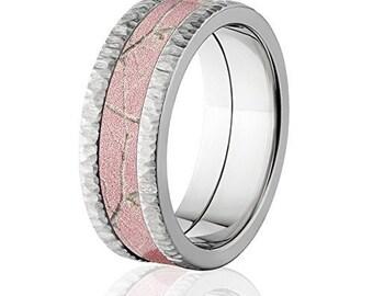 RealTree Pink Camouflage Crossbrush Finish Titanium Camo Rings: 8F-TB-RealTreePnk