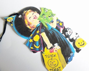 Retro Witch Girl - Witch Costume - Gift Tags - Set of 3 - 1950's Halloween - Halloween Costume - Little Girl Tag - Trick R Treat Tag
