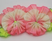 Double Pink and Cream Pansy Applique