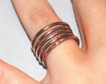 Copper Band Ring 7th Seventh Wedding Anniversary Rustic Boho Midi Knuckle Ring Arthritis Tendonitis Wife Mother Daughter Birthday Christmas
