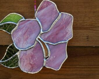 Stained Glass Hibiscus Flower-Suncatcher-Handmade-Window Decor-Anniversary-House Warming-Birthday-Mothers Day-Flower-Sweet- Gift for Girl