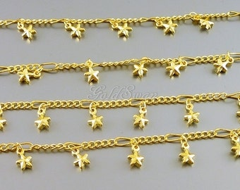 1 FOOT / 12 inch shiny gold dangling tiny star charm chain, star bracelet / necklace chain , star charms B144-BG (1 FT)