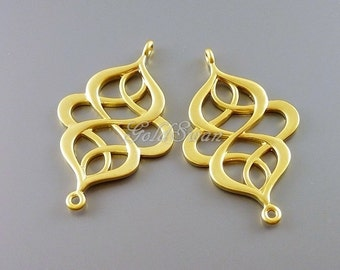 2 matte gold oriental filigree connectors, filigree pendants, findings, jewelry pendants 1158-MG
