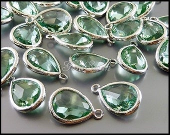 2 prasiolite light green glass crystal stones with bezel + loop, crystal stone necklace pendant 5073R-PR