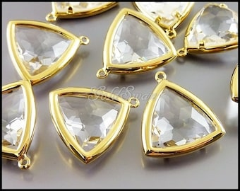 2 clear crystal glass stone in smooth rim bezel setting, triangle charms, triangle glass pendants 5141G-CL