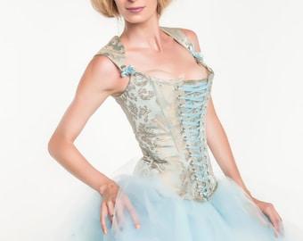sample sale 24 inch corset-ice princess-steampunk cinderella-the secret boutique-ready to ship-halloween-costume-lace front corset-unique