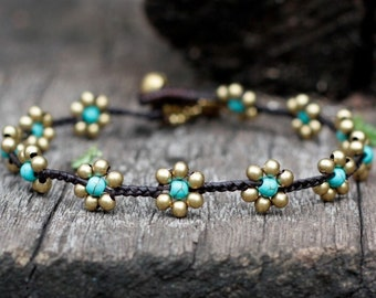 Turquoise Flower Brass Anklet