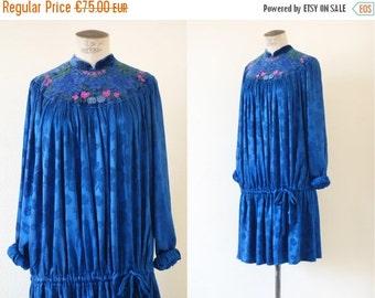 Bali dress   Indigo rayon indian dress   1970's by Cubevintage   medium