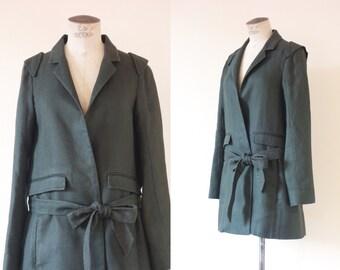 Chloé trench coat | Kakhi linen long jacket | 1990's by cubesvintage | Medium