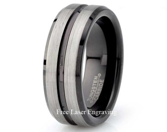 Mens Tungsten Carbide Wedding Band Mens Wedding Ring Black Tungsten Ring Grooved 8mm