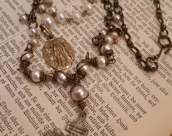 Upcycled Vintage Religious Double Assemblage Necklace, ooak, Repurposed