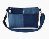 Denim Medium Zippered Crossbody Bag - Denim Blue Messenger Purse - Fabric Cross Body Purse - Outside Pockets - Denim Handbag