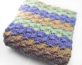 Crib Size Crochet Baby Blanket in stripes of purple, green and beige