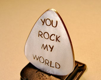 Guitar Pick Handmade from Aluminum with You Rock my World - GP979