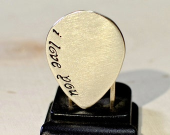 Silver Tear Drop Guitar Pick with I Love You in Solid 925 Sterling Silver or Brass - GP939